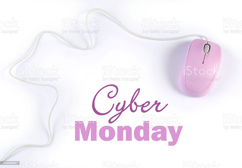Cyber Monday sale shopping sign stock photo