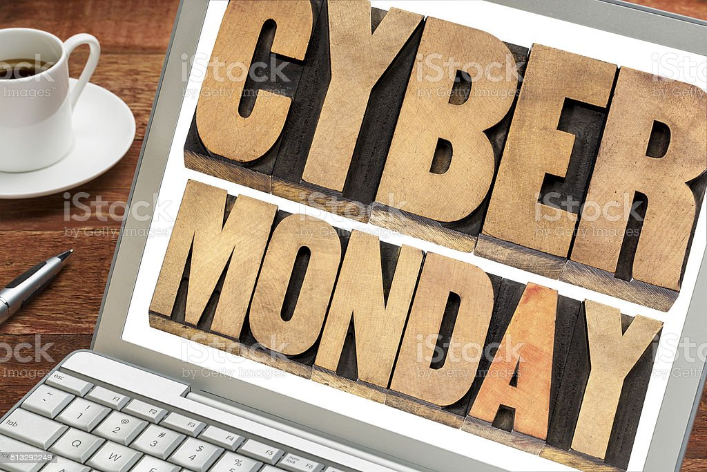 Cyber Monday shopping concept stock photo