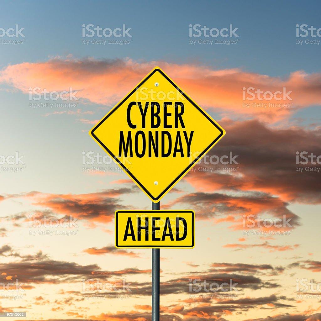 cyber monday street sign stock photo