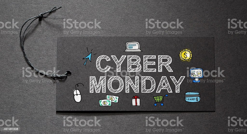 Cyber Monday text on a black tag stock photo