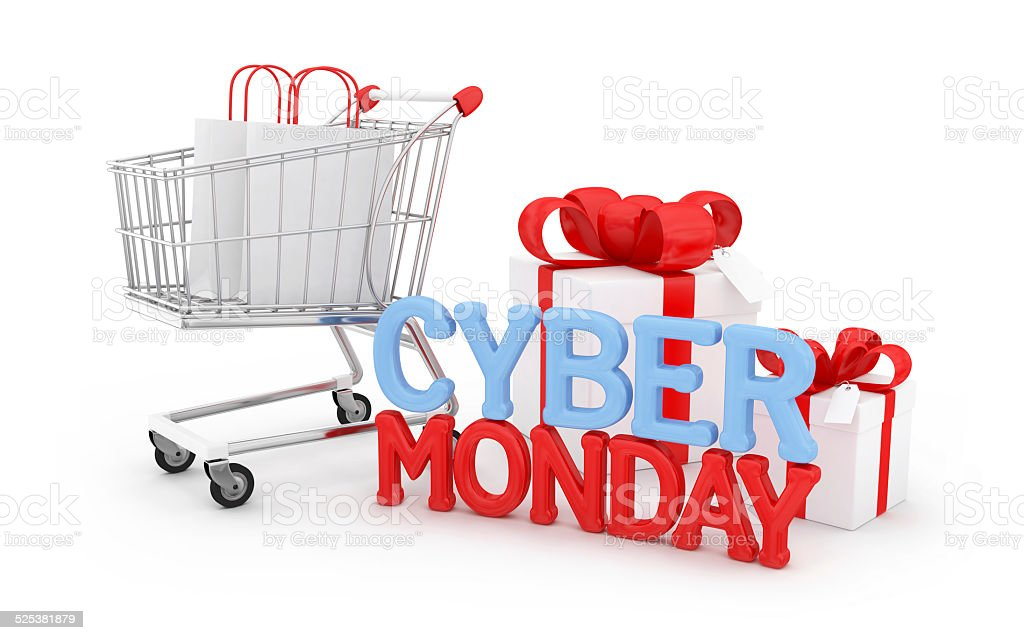 Cyber Monday with gifts stock photo