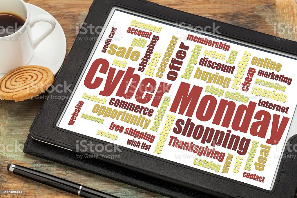 Cyber Monday word cloud stock photo