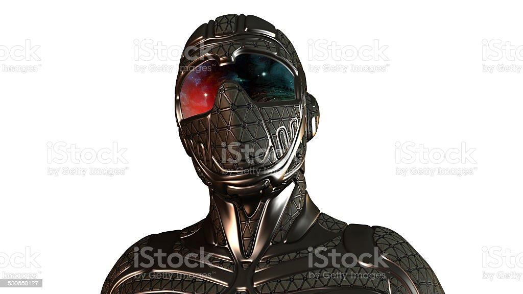 Cyber Ninja Warrior in Space stock photo