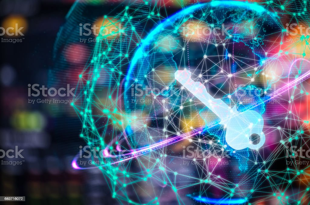 Cyber security concept businessman Lock on digital screen, contrast, virtual screen with a consultant doing presentation in the background Closed Padlock on digital, cyber security, key WannaCrypt stock photo