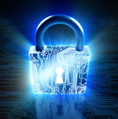 Cyber security concept: lock with circuits