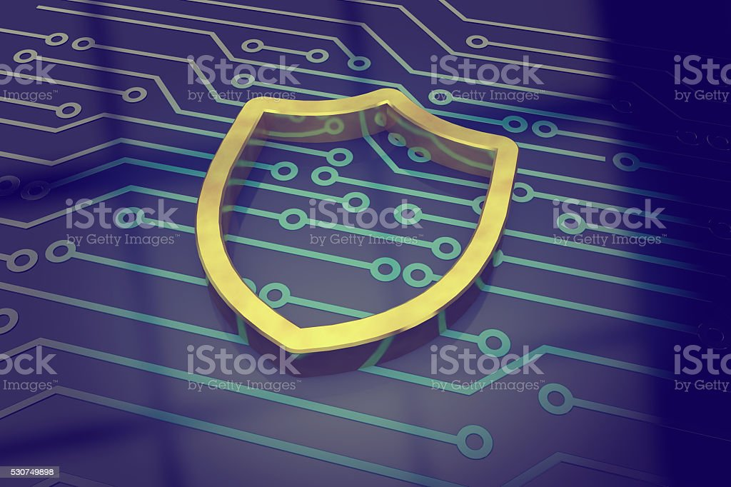 Cyber security concept shield stock photo