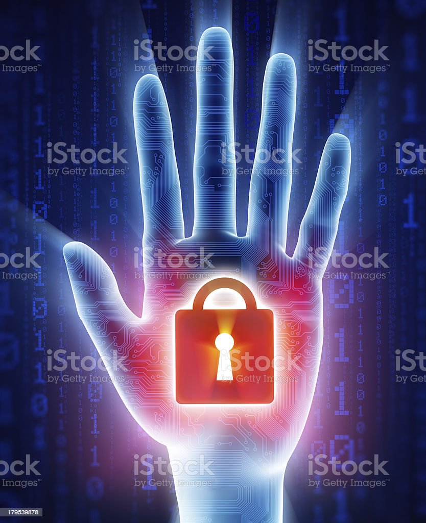 Cyber security concept: stop hand stock photo