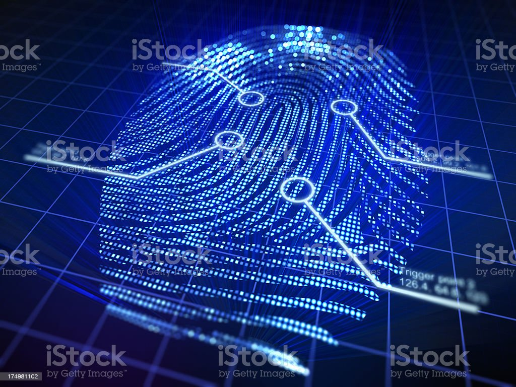 Cyber security concept with fingerprint stock photo