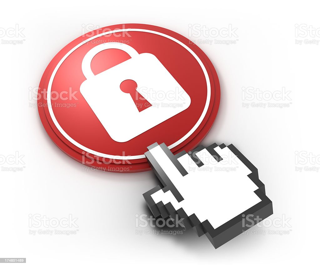 Cyber security concept with lock and pointer hand royalty-free stock photo