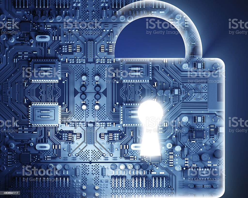 Cyber security concept with lock stock photo