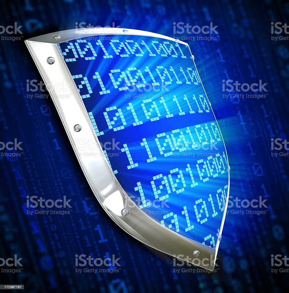 Cyber security concept with shield royalty-free stock photo