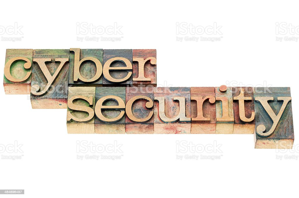 cyber security in wood type royalty-free stock photo
