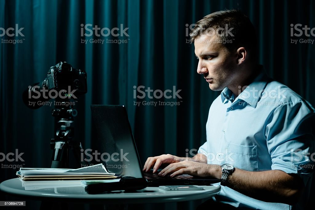 Cyber stalker persecuting his victim stock photo