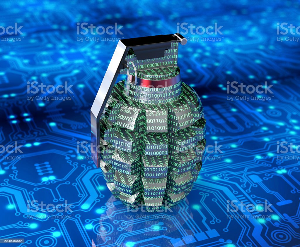 cyber terrorism concept computer bomb in electronic environment stock photo