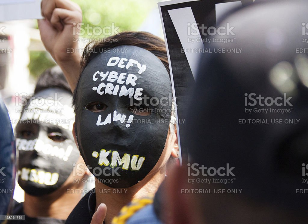 Cybercrime law protest royalty-free stock photo