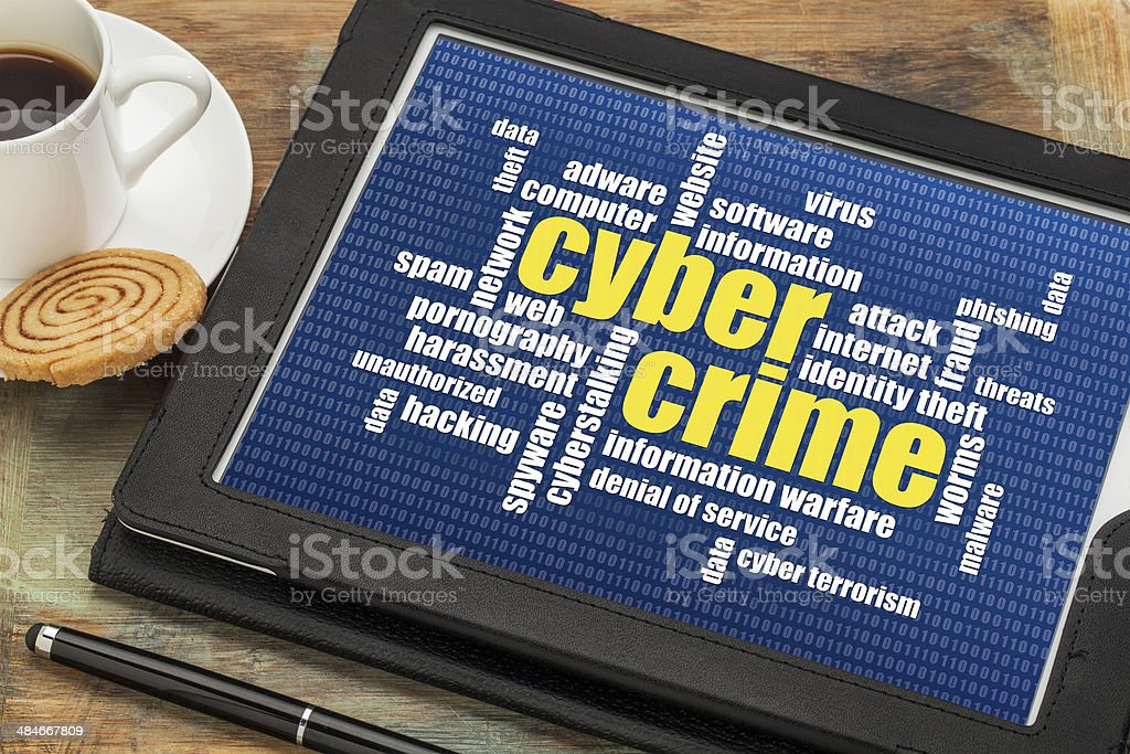cybercrime word cloud stock photo