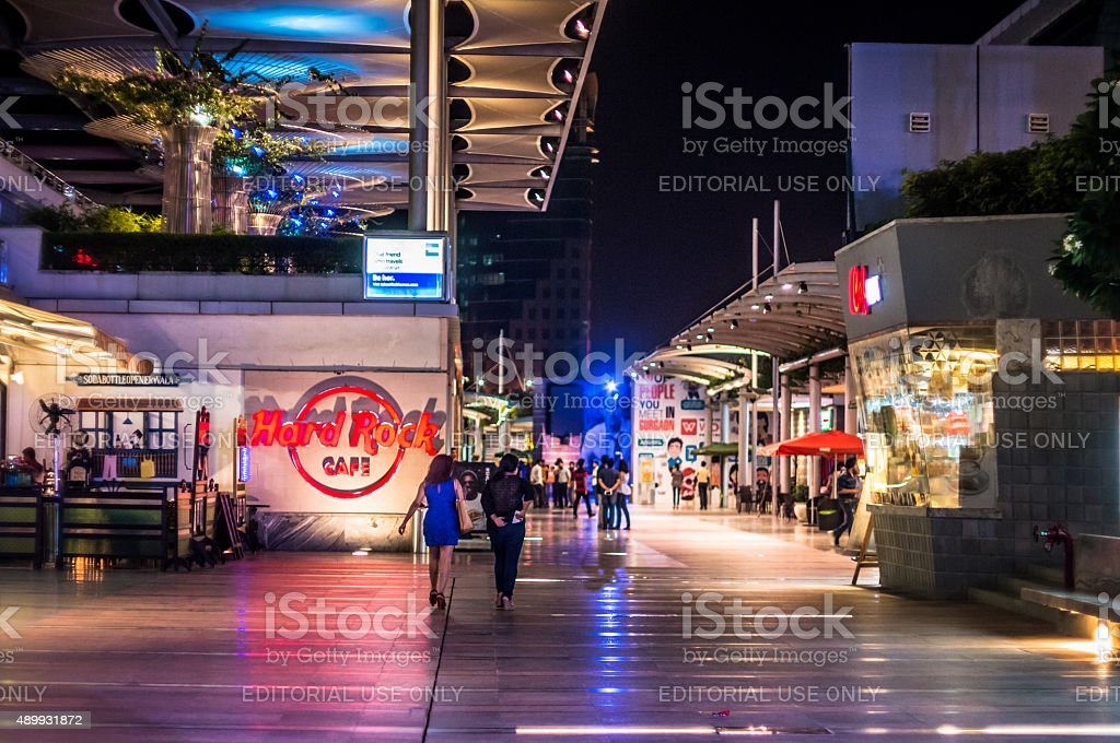 Cyberhub gurgaon at night stock photo