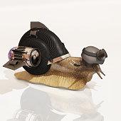 cybernetic snail, 3d rendering
