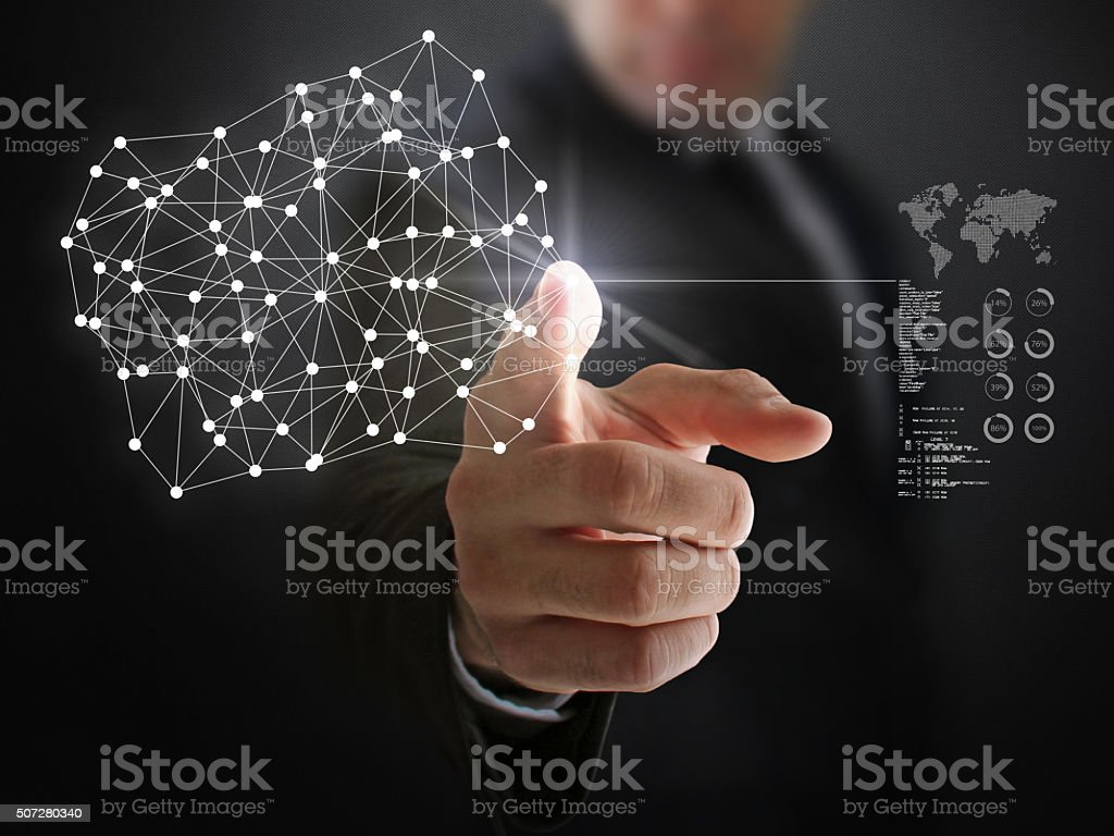 Cyberspace Links and Businessworld stock photo
