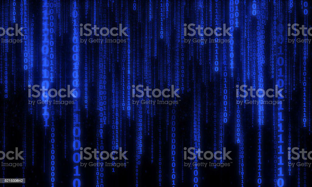 cyberspace with digital falling lines, binary hanging chain stock photo