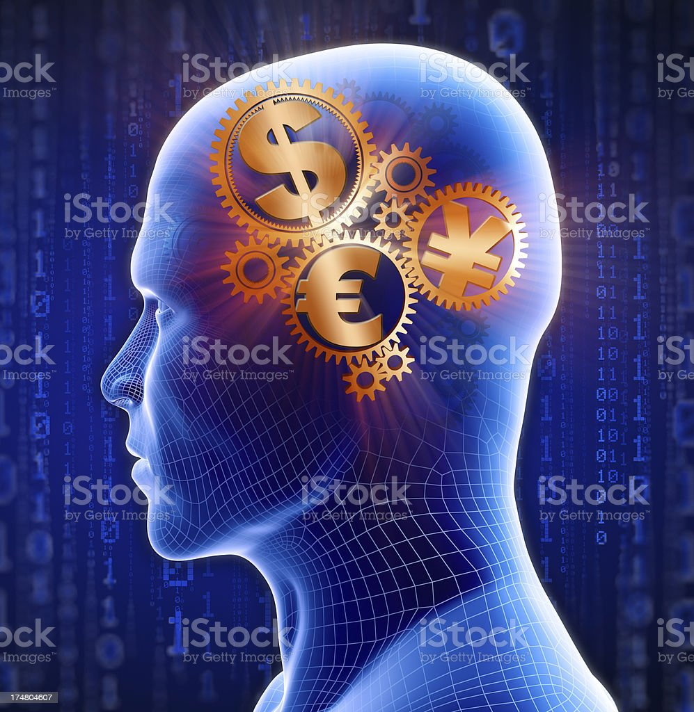 Cyber-themed man with money on his mind stock photo