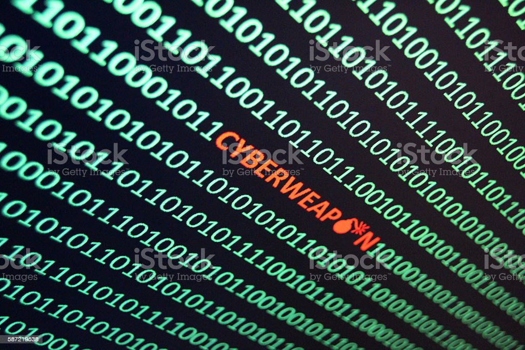 Cyberweapon in string of binary code stock photo