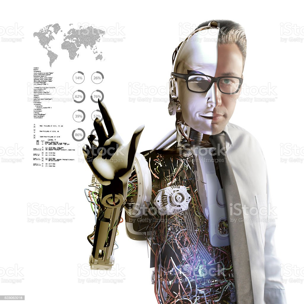 Cyborg and Infographics stock photo