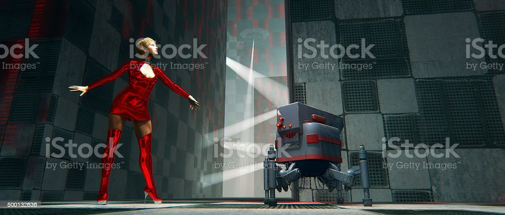 Cyborg and robot chased by UFO, futuristic city stock photo