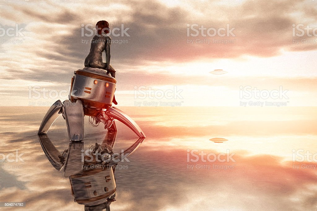 Cyborg and robot waiting for UFO pick up stock photo