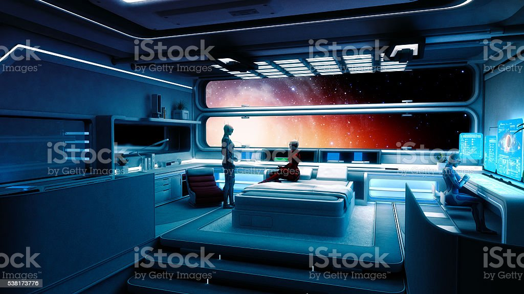 Cyborg astronauts, spaceship, interstellar travel stock photo