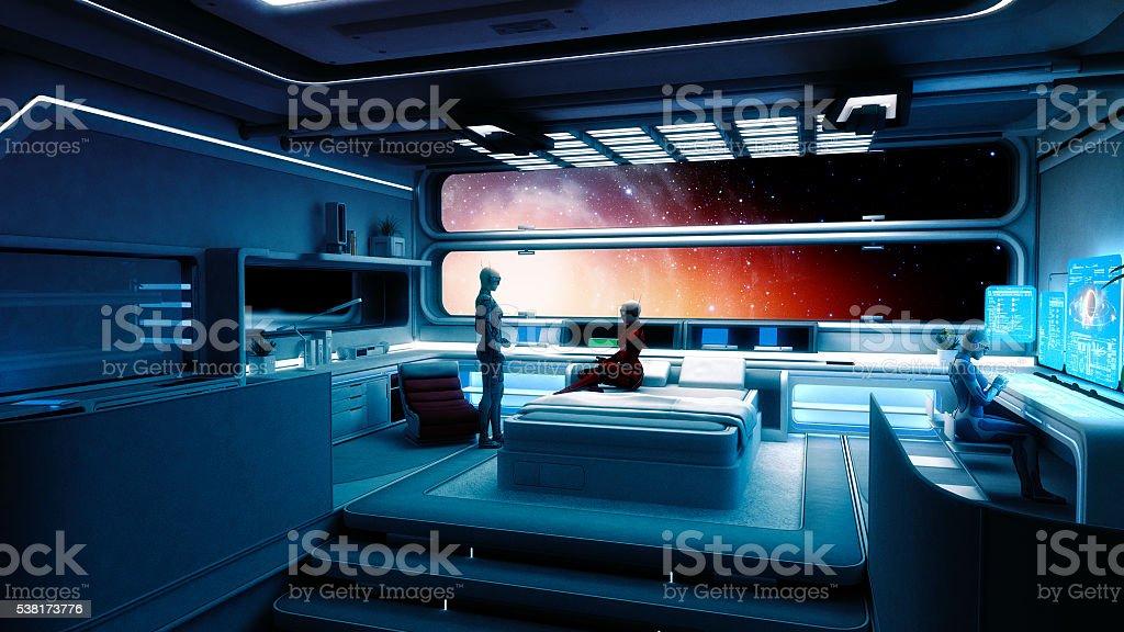 Cyborg astronauts, spaceship, interstellar travel stock photo