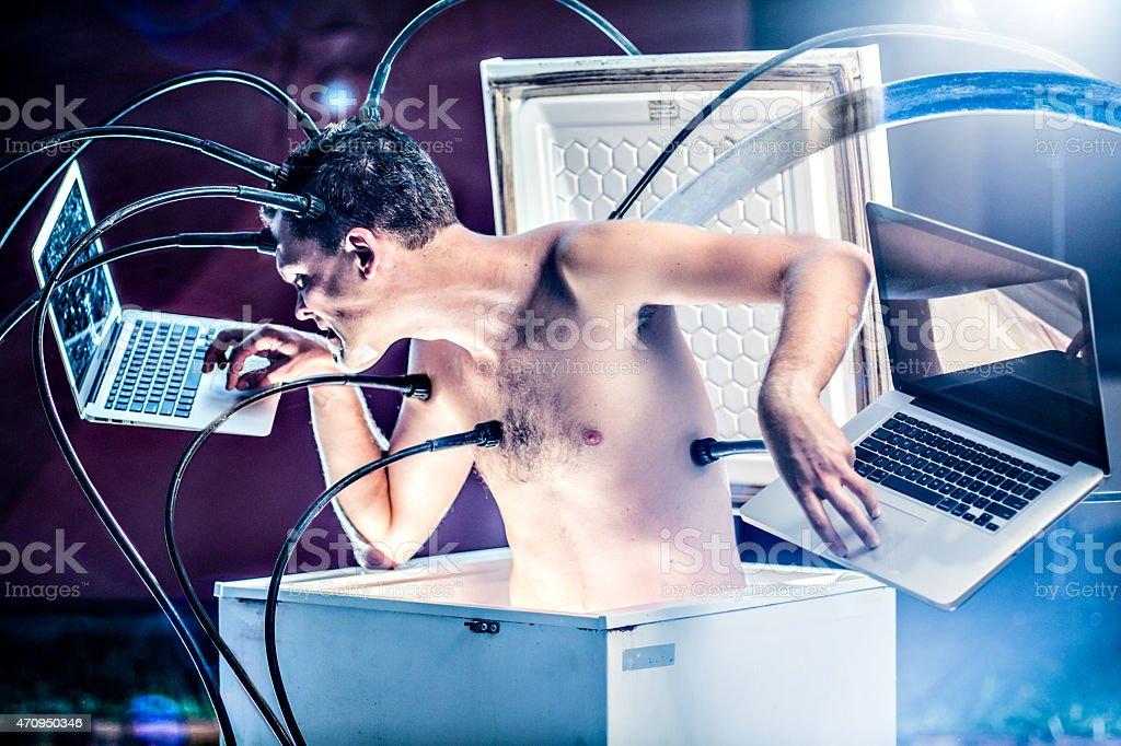 Cyborg at work stock photo