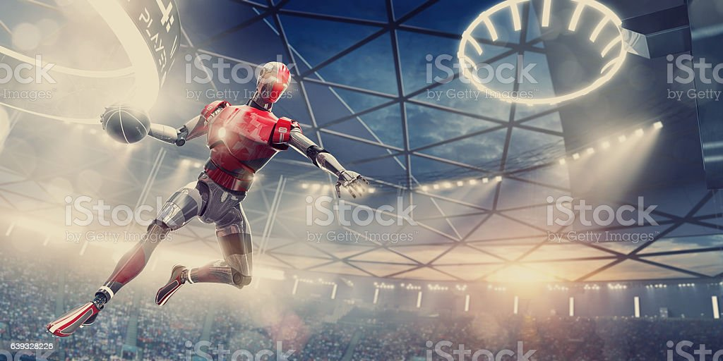 Cyborg Basketball Player About To Slam Dunk During Futuristic Game stock photo