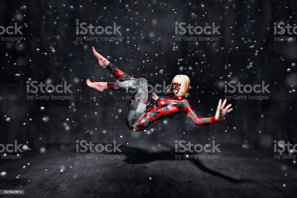 Cyborg female submerged into life tank stock photo