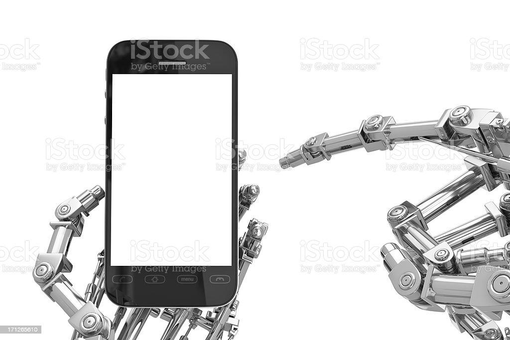 Cyborg Hand holding Smartphone with Blank Screen, White Background (XXXL) stock photo