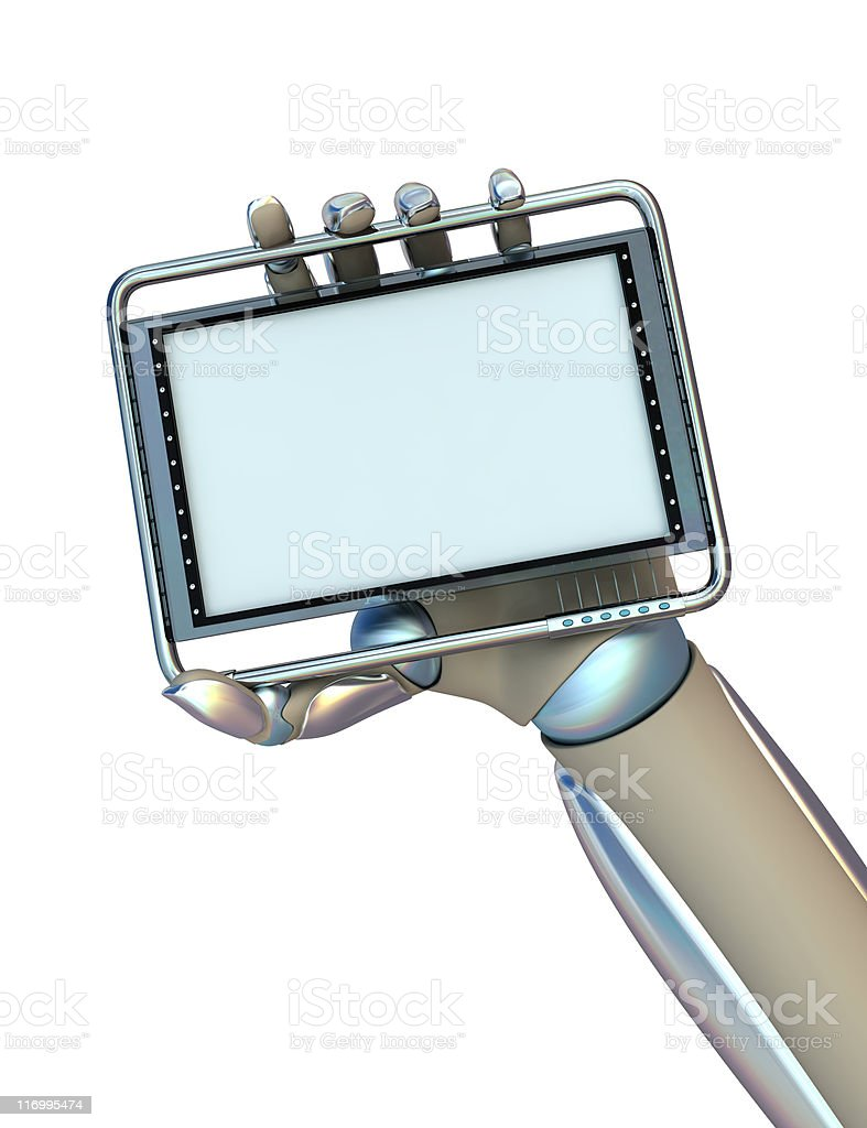 Cyborg hand is holding pocket computer royalty-free stock photo