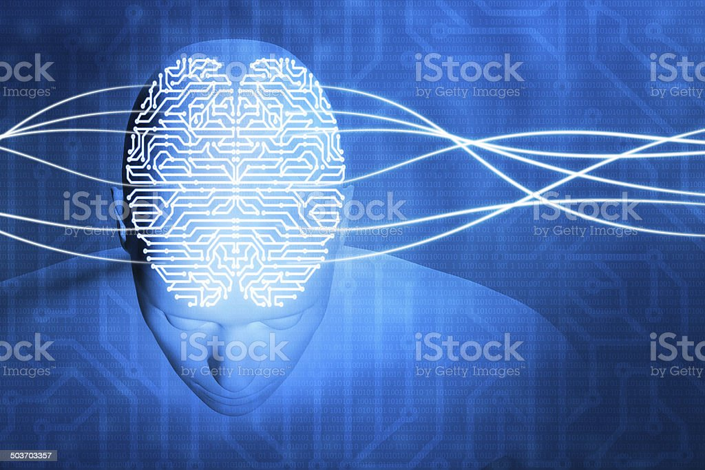 Cyborg human head and computer circuit brain, mind control stock photo