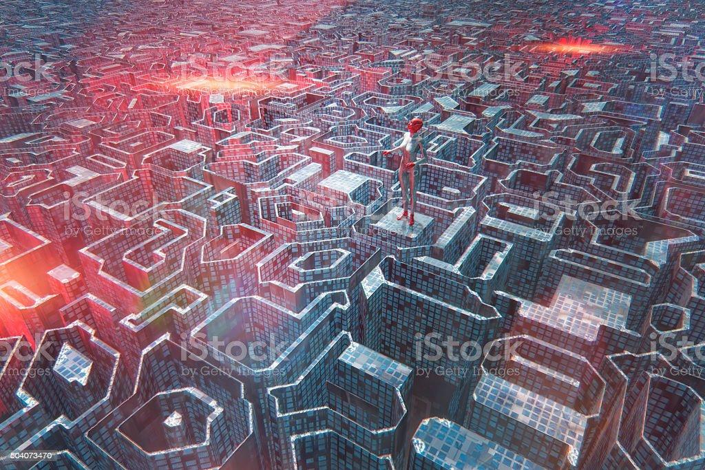 Cyborg in futuristic city stock photo