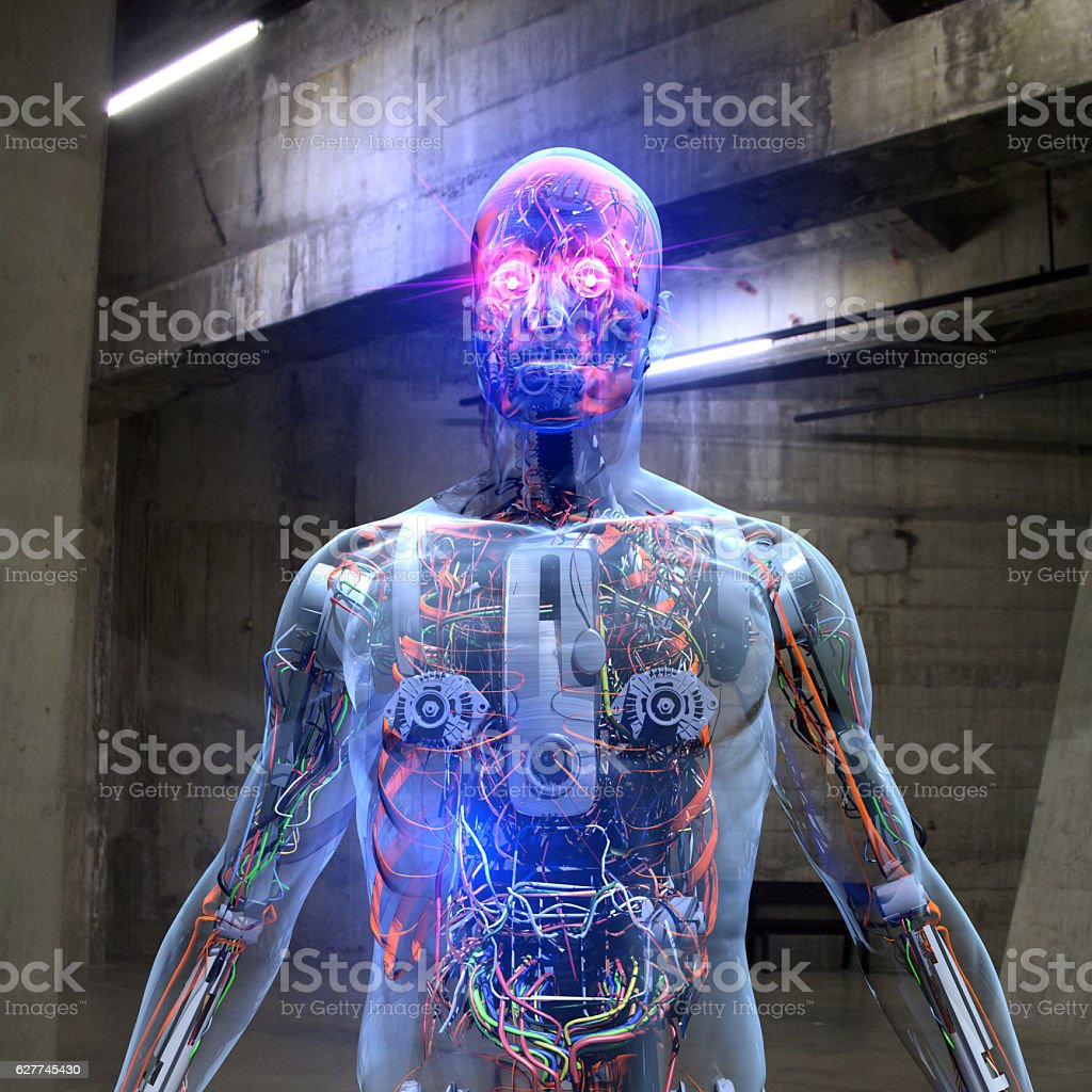 Cyborg in The Base stock photo