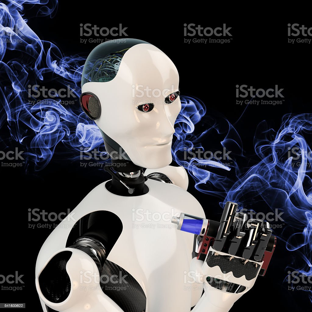 cyborg smoking e-cigarette stock photo