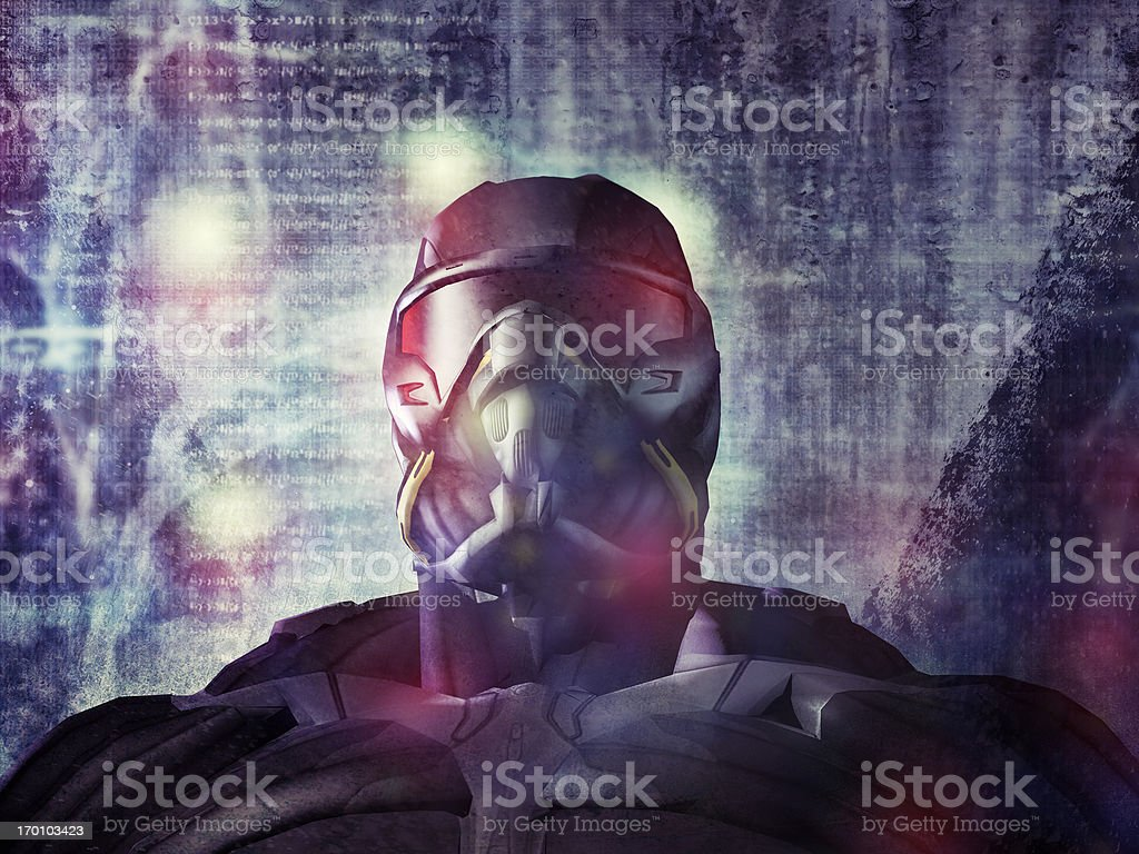 Cyborg soldier of future stock photo