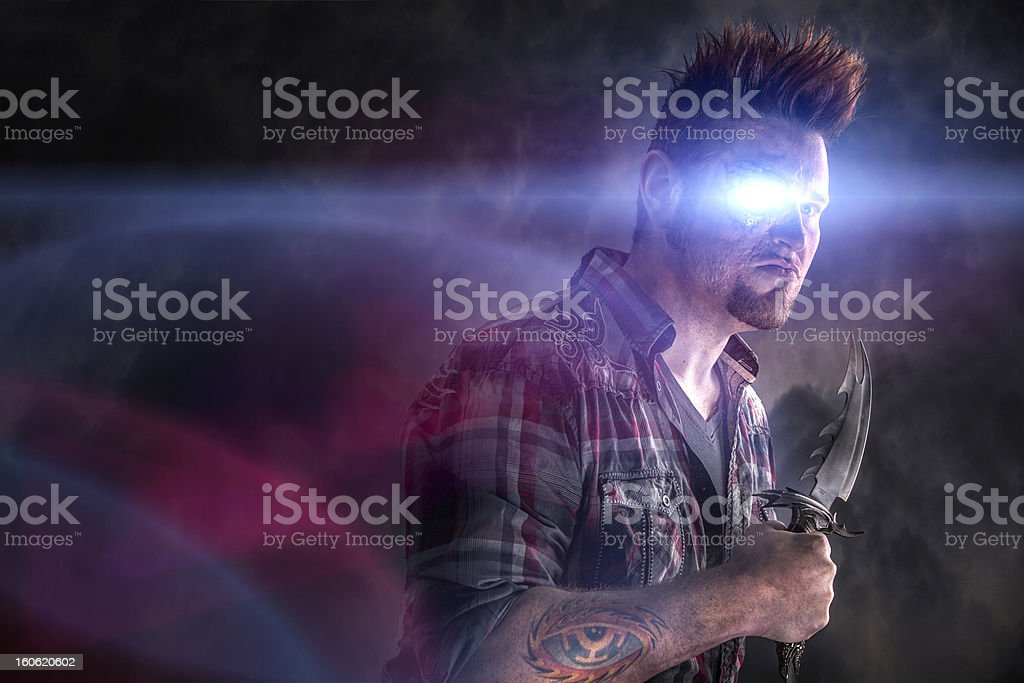 Cyborg Thug Ready To Fight royalty-free stock photo