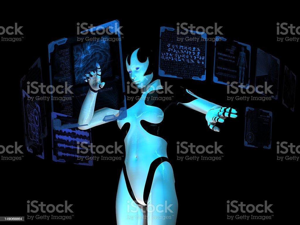 Cyborg using computer royalty-free stock photo