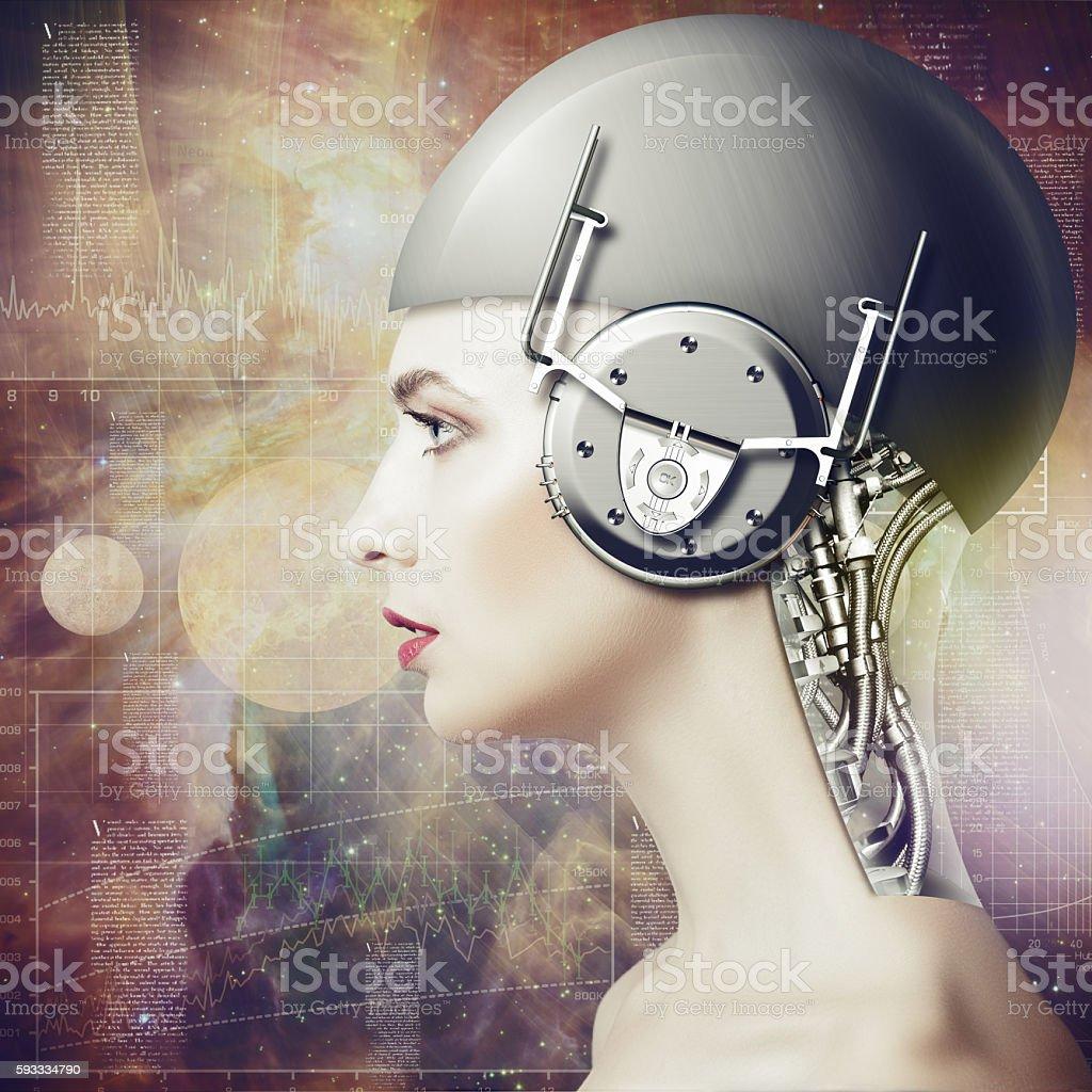 Cyborg woman stock photo