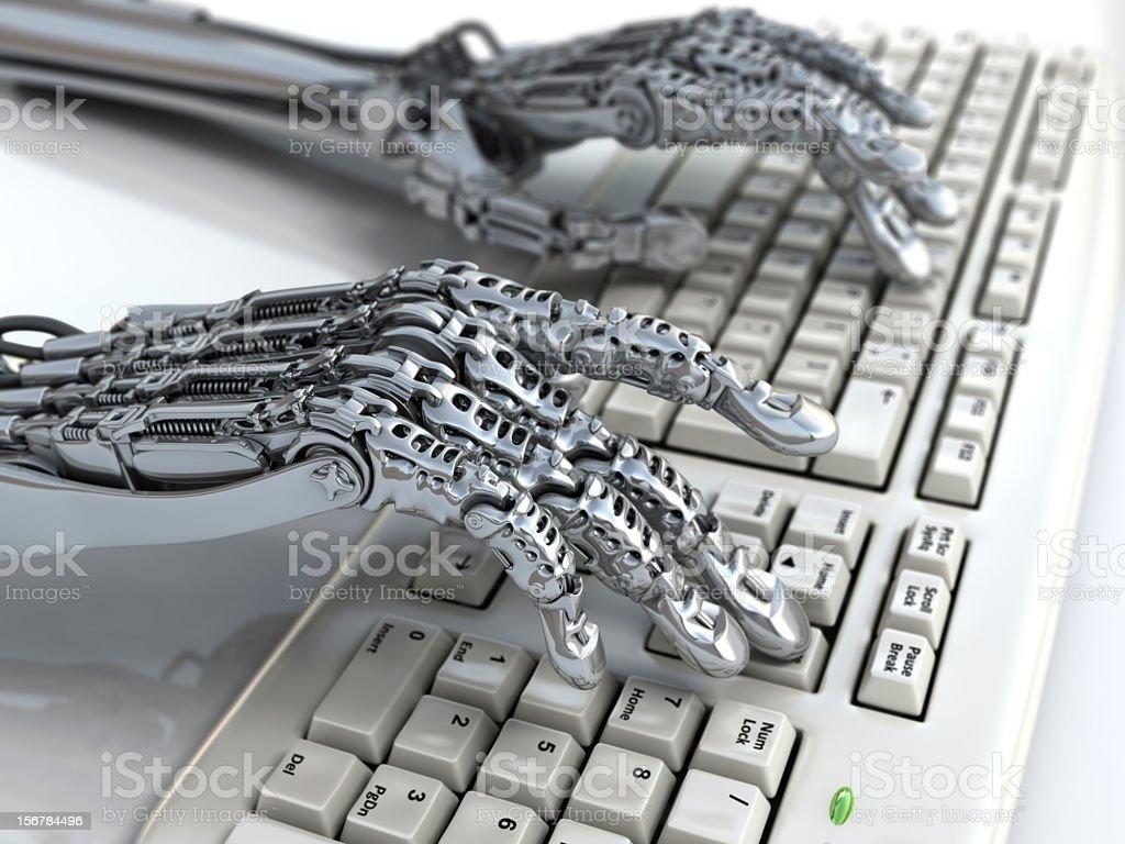 Cyborg's hands stock photo