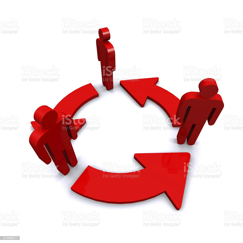 Cycle arrow of red business man. stock photo