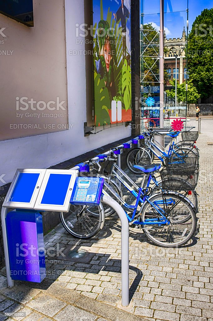 Cycle hire center in Bristol, UK stock photo