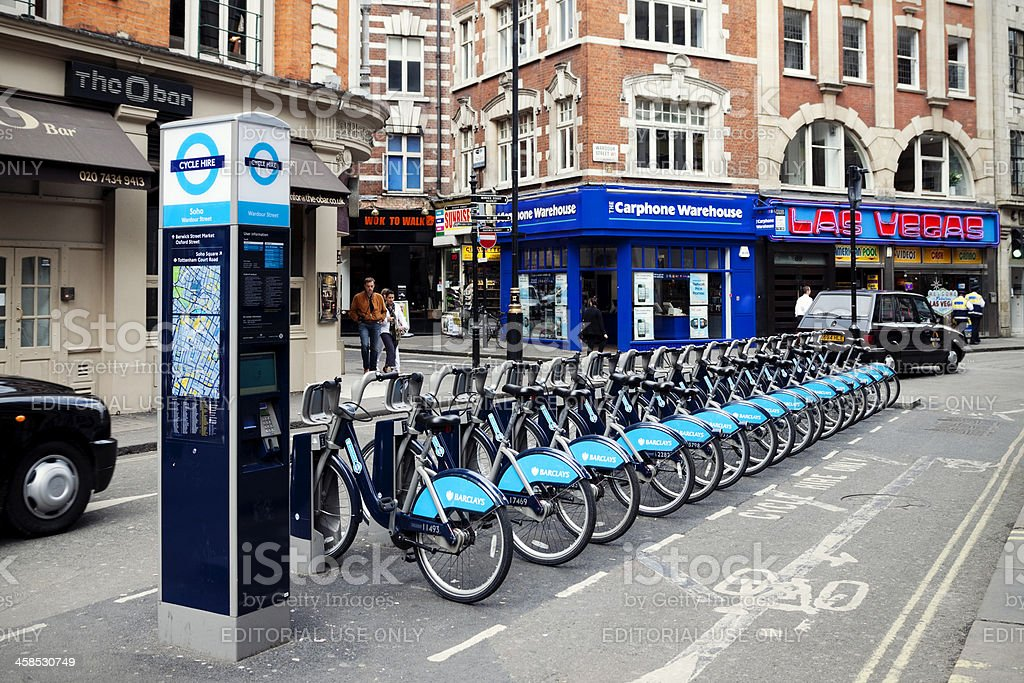 Cycle hire in Wardour Street, London stock photo