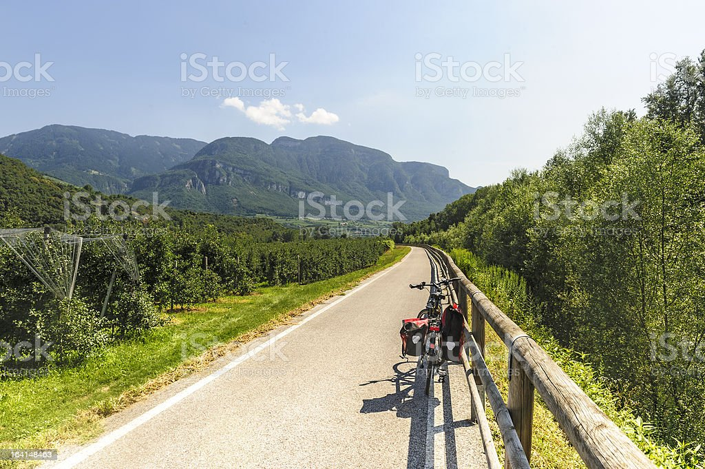 Cycle lane of the Adige valley stock photo