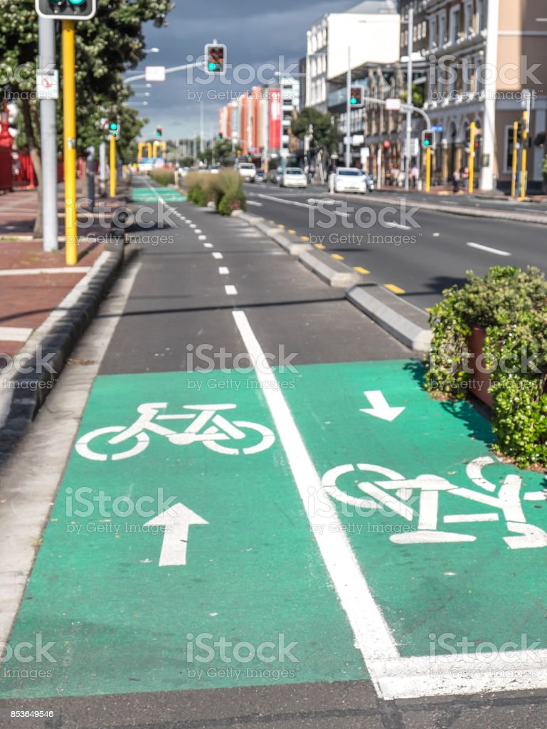 Cycle lanes for bicycles on Quay Street, Auckland, New Zealand, NZ stock photo